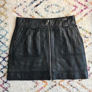 Zip Front Leather Mini Skirt